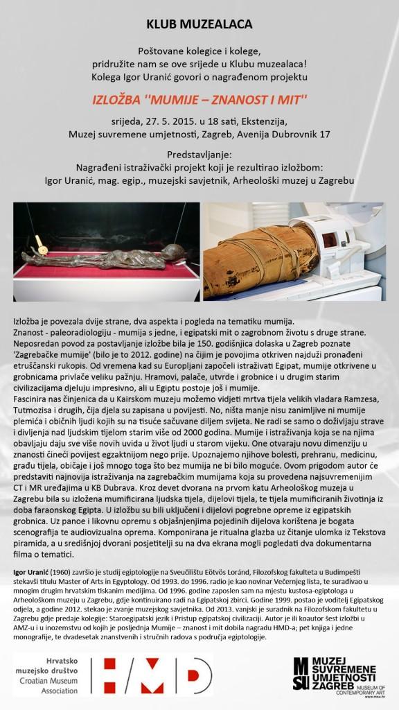 Klub muzealaca_Igor Uranic_Mumije znanost i mit
